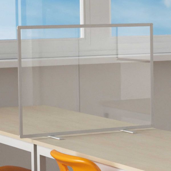 Tischtrennwände aus Acrylglas oder Flanellstoffbespannung